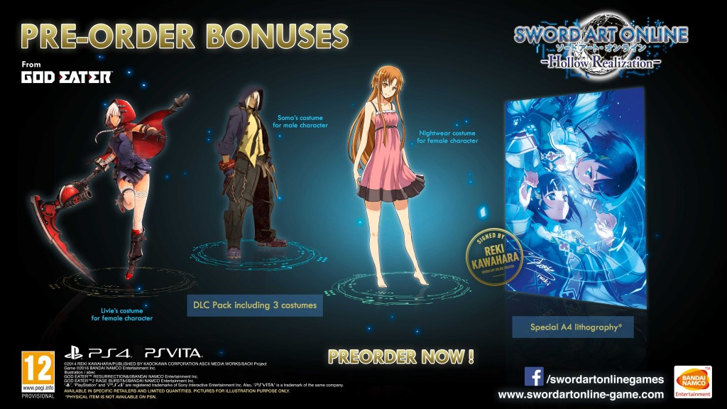 SAO Hollow Realization Pre-order costumes