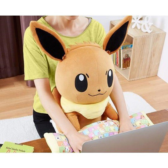 these cute eevee and pikachu cushions will keep you comfy in front