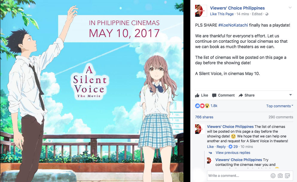Koe no katachi Philippines release