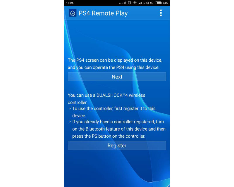 PS4 remote play register